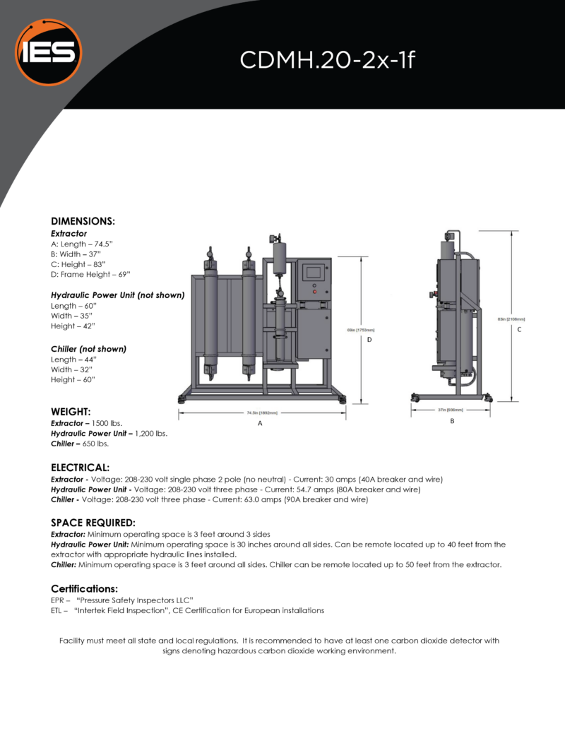 Isolate Extraction Systems CDMH.20-2x-1f Hydraulic